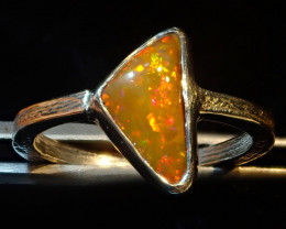 6.5sz SOLID CRYSTAL OPAL HIGH QUALITY .925 STERLING FABULOUS RING