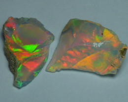 4.135 CRT 2 PCS WELO OPAL ROUGH MULTICOLOR ETHIOPIAN OPAL