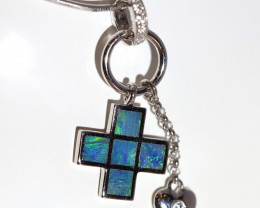 925 ST/ SILVER RHODIUM PLATED OPAL INLAY PENDANT [FP106]