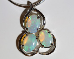 925 ST/ SILVER RHODIUM PLATED CRYSTAL OPAL PENDANT [FP104]