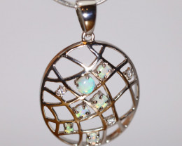 925 ST/ SILVER RHODIUM PLATED OPAL CRYSTAL PENDANT [FP103]