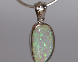 925 ST/ SILVER RHODIUM PLATED CRYSTAL OPAL PENDANT [FP100]