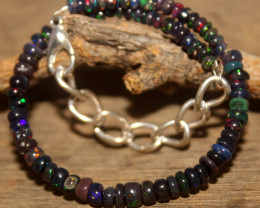 14 Crts Natural Ethiopian Welo Smoked Opal Beads Bracelet 337