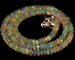 45 Crts Natural Ethiopian Welo Faceted Opal Beads Necklace 166