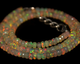 55 Crts Natural Ethiopian Welo Faceted Opal Beads Necklace 171
