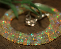 53 Crts Natural Ethiopian Welo Faceted Opal Beads Necklace 162