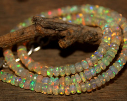 48 Crts Natural Ethiopian Welo Faceted Opal Beads Necklace 161