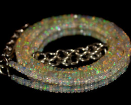 42 Crts Natural Ethiopian Welo Faceted Opal Beads Necklace 183