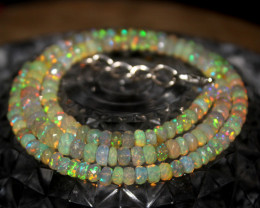 46 Crts Natural Ethiopian Welo Faceted Opal Beads Necklace 182