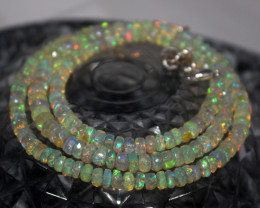 57 Crts Natural Ethiopian Welo Faceted Opal Beads Necklace 178