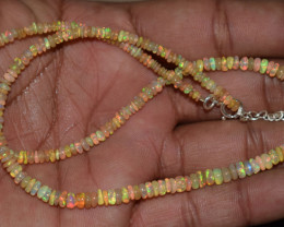 OPAL NECKLACE MADE WITH NATURAL ETHIOPIAN BEADS STERLING SILVER OBJ-151