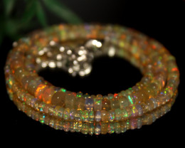 39 Crts Natural Ethiopian Welo Opal Beads Necklace 521