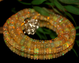 51 Crts Natural Ethiopian Welo Opal Beads Necklace 487
