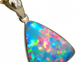 Opal & Diamond Pendant Inlay Stunning Gem 14k Gold 4.95ct D77