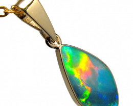 Australian Opal Pendant 3ct 14k Gold Small Cute Gift #D72