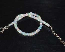 14.35 CT OPAL BRACELET MADE OF NATURAL ETHIOPIAN BEADS STERLING SILVER OBB1