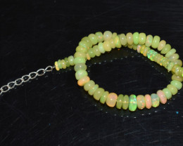 23.45 CT OPAL BRACELET MADE OF NATURAL ETHIOPIAN BEADS STERLING SILVER OBB1