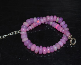 31.60 CT OPAL BRACELET MADE OF NATURAL ETHIOPIAN BEADS STERLING SILVER OBB1