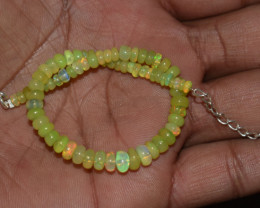 22.30 CT OPAL BRACELET MADE OF NATURAL ETHIOPIAN BEADS STERLING SILVER OBB1