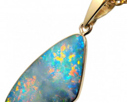 Australian Opal Pendant Inlay 5.3ct 14k Gold Jewelry D79