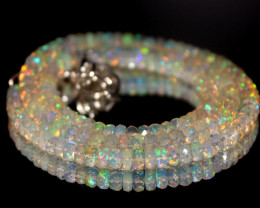 48 Crts Natural Ethiopian Welo Faceted Opal Beads Necklace 191