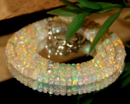 47 Crts Natural Ethiopian Welo Faceted Opal Beads Necklace 197