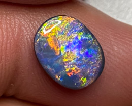 2.16ct SOLID BLACK OPAL LIGHTNING RIDGE NATURAL GEM BOPB120121