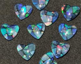 9.50 cts opala mosaico forma coração