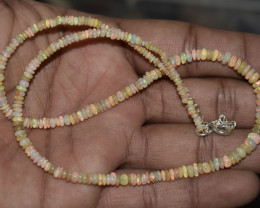 OPAL NECKLACE MADE WITH NATURAL ETHIOPIAN BEADS STERLING SILVER OBJ-179