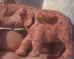250ct Elephant Unique Nature Beauty Gift Matrix Opal Carving Mesmerizing
