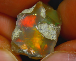 11.56Ct Multi Color Play Ethiopian Welo Opal Rough J1515/R2