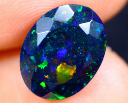 2.76cts Natural Ethiopian Faceted Smoked Welo Opal / BF5557