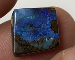 Diamond Shape Electric Blue Boulder Opal