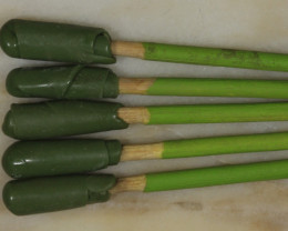 NO RESERVE!! 5 Dopping Sticks -Large Stone Green 15ct + [31275] 53FROGS
