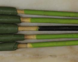 5 Dopping Sticks -Large Stone Green/Black 15ct + [31284]