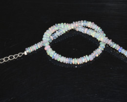 14.10 CT OPAL BRACELET MADE OF NATURAL ETHIOPIAN BEADS STERLING SILVER OBB1