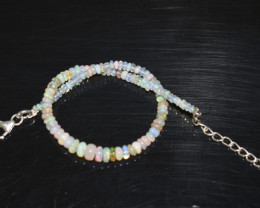 12.80 CT OPAL BRACELET MADE OF NATURAL ETHIOPIAN BEADS STERLING SILVER OBB1