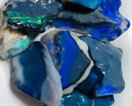Bright Black Opal - Hand Picked/ Select Seam Rough to Cut