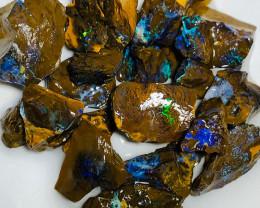 Multicolour Bright Koroit Matrix Rough Boulder Opals to Cut
