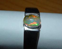 Opal Sz 7.5 men's Sterling Silver Ring *