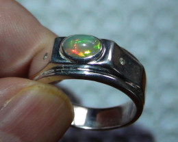 Sz 10.5 men's Opal Sterling Silver Ring With Cubic Zirconia's*