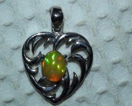Opal Sterling Silver Love Heart Pendant