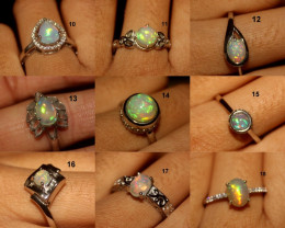 925 Sterling Silver Natural Ethiopian Welo Opal Rings Lot
