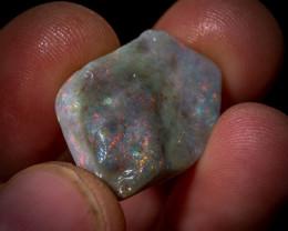 13.20 carats Lightning Ridge rough Opal - Red multicoloured part semi black