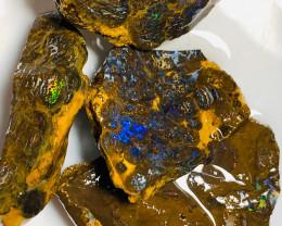 Multicolour Bright Rough Koroit Matrix Boulder Opals to Cut