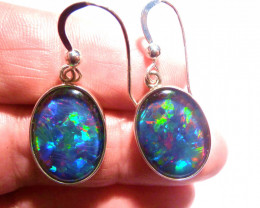Hand made Bright Australian Triplet Opal and Solid Sterling Silver Earrings