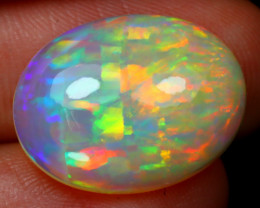 5.30Ct Ribbon Mackerel Pattern Rainbow Color Flash Welo Opal RT27