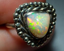 7.5sz Ethiopian Welo Opal .925 Sterling Silver Ring