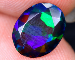 1.25cts Natural Ethiopian Welo Faceted Smoked Opal / HM2125