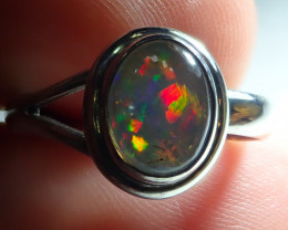 6.5sz Mexican  Opal .925 Sterling Silver Ring Contraluz